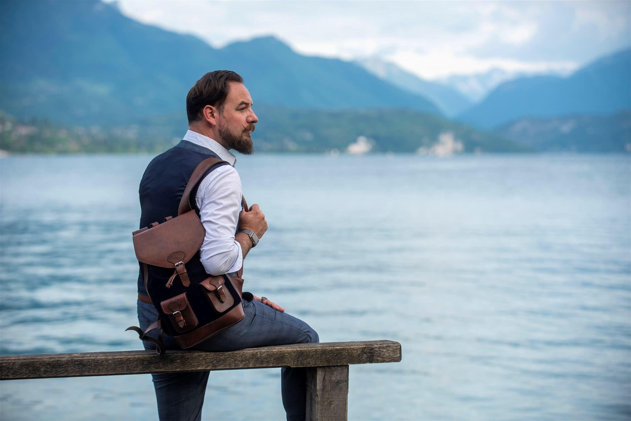 sac à dos gabi bleu nuit pachamama élégant chic cuir vintage rétro tendance urbain ville style