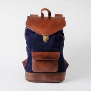 sac à dos joe bleu nuit pachamama cuir daim tendance rétro vintage casual chic élégant
