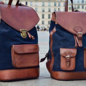 sacs à dos bleu cuir