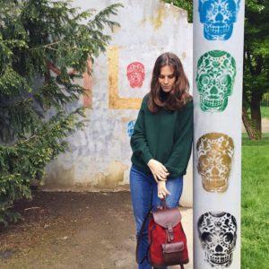 sac à dos lou rouge pachamama urbain nature tête de mort élégant