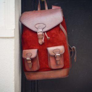 sac à dos rouge cuir
