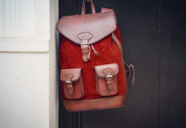 sac à dos cuir rouge vintage élégant pachamama