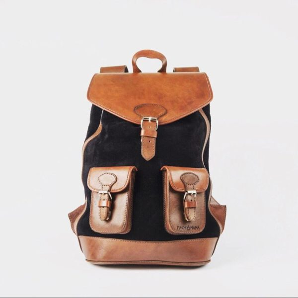 sac à dos gabi noir pachamama cuir velours éthique responsable handmade fait main tendance fonctionnel