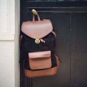 sac à dos élégant cuir noir pachamama voyage