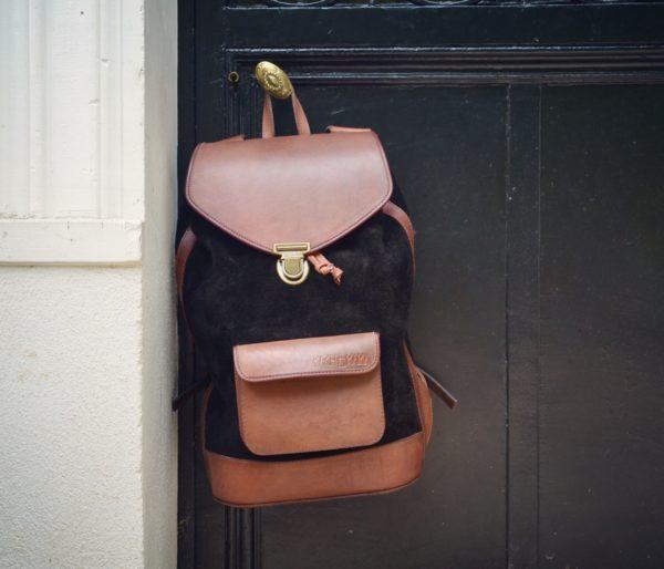 sac à dos noir cuir pachamama