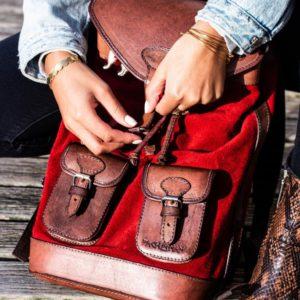 sac à dos en cuir rouge