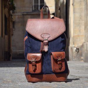 sac à dos en cuir bleu