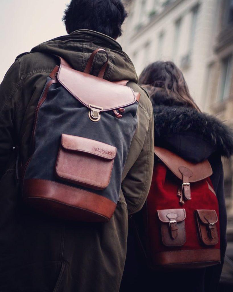 sac à dos pachamama urbain ville cuir rétro couple