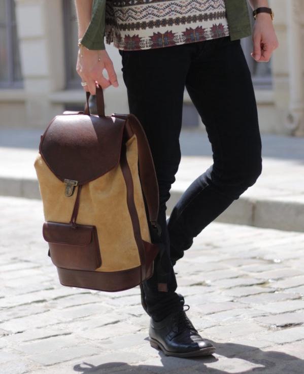 sac à dos urbain en cuir beige ville pachamama