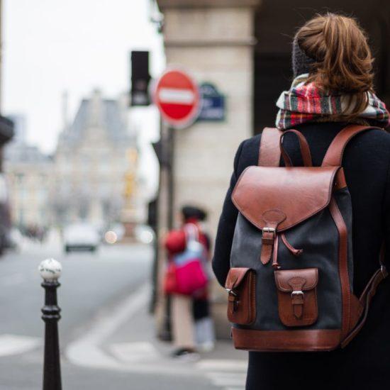 sac à dos cuir rétro femme gabi gris