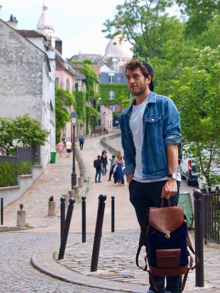 backpack urbain cuir vintage rétro homme