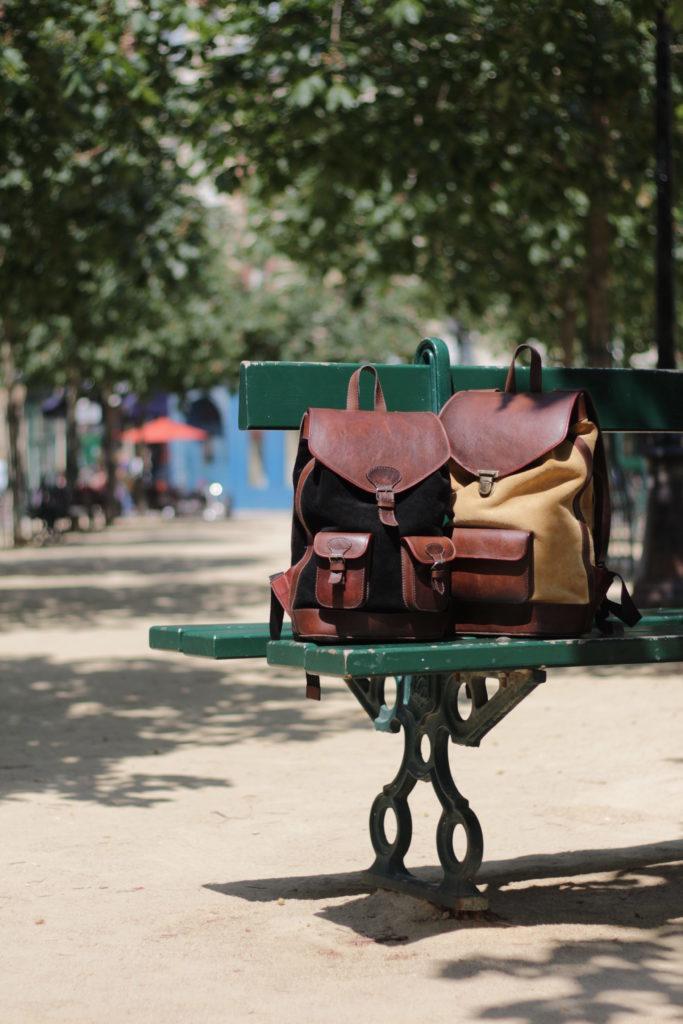 banc public paris urbain sacs à dos vintage cuir