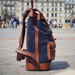 sac à dos bleu cuir