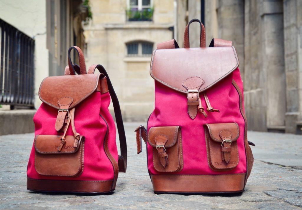sac à dos en cuir rose