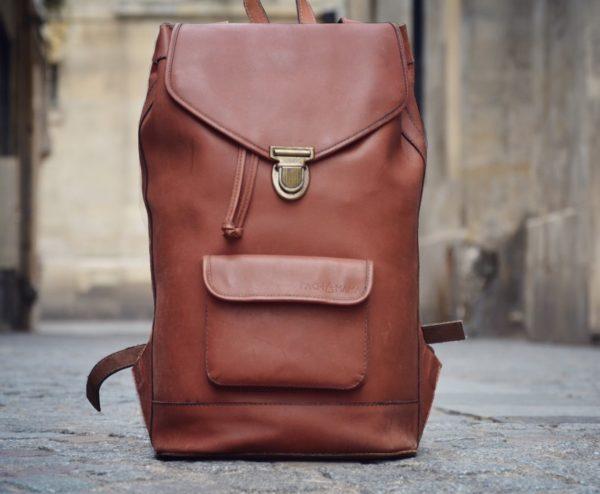 sac à dos en cuir vintage