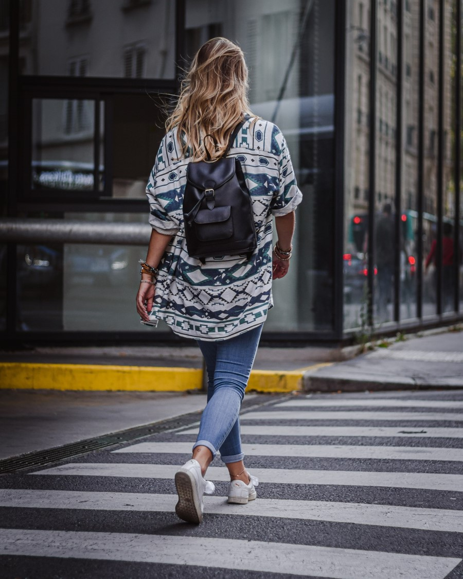 women black leather backpack