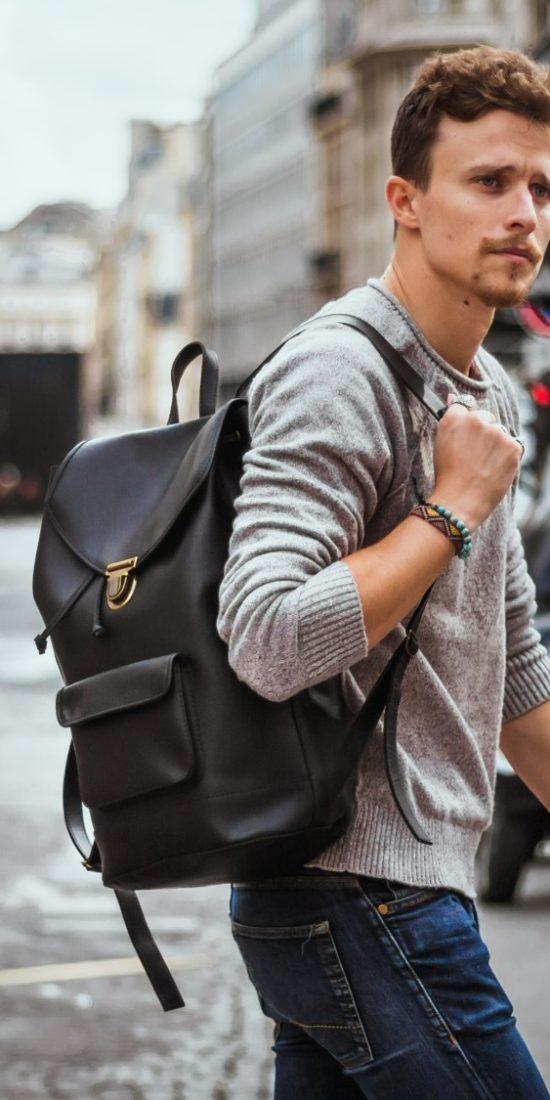 sac à dos en cuir noir homme