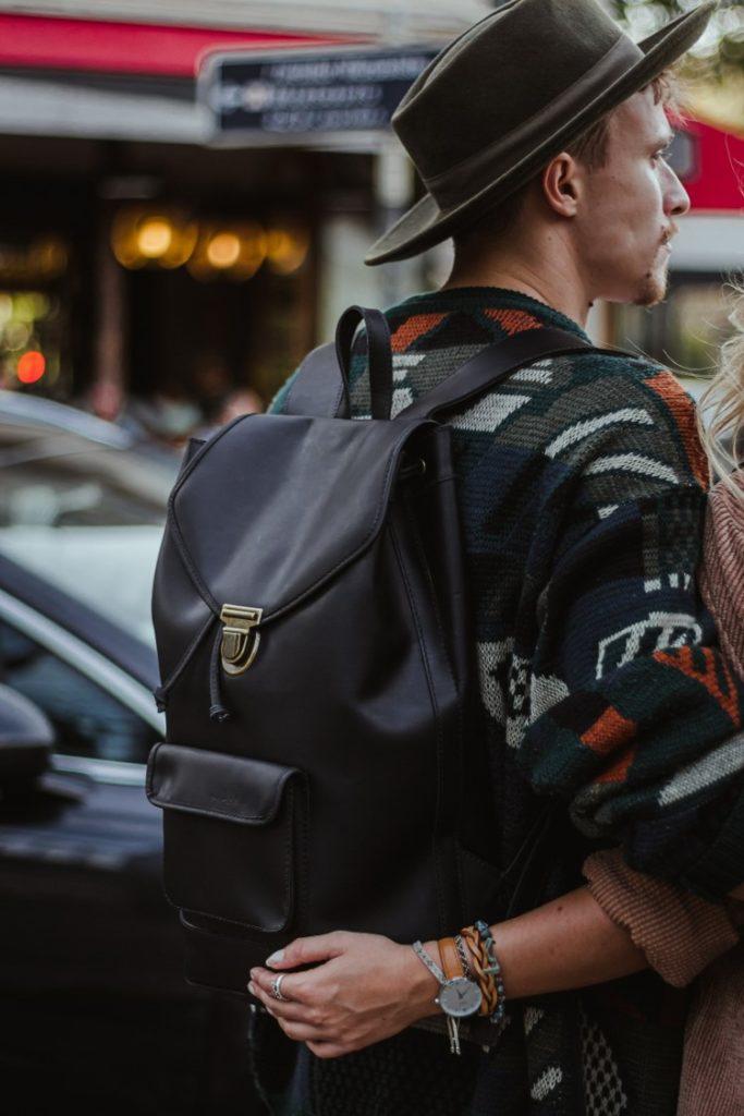 men black leather backpack