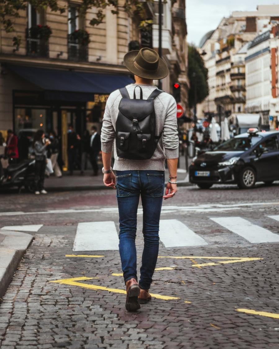 city men backpack